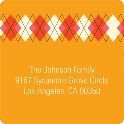 Argyle Meets Adorable Arrival in Pink Baby Address Labels