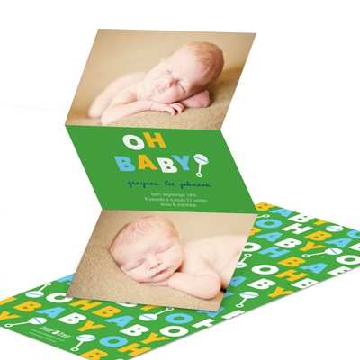 Retro Rattle Shaking in Green Baby Boy Announcements