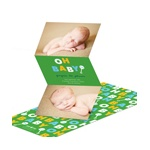 Retro Rattle Shaking in Green -- Boy Birth Announcements