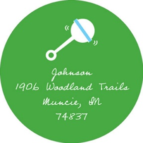 Retro Baby Rattle in Green -- Baby Address Labels