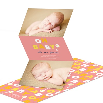 Retro Rattle Shaking in Pink -- Girl Birth Announcements