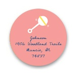 Retro Baby Rattle in Pink -- Baby Address Labels