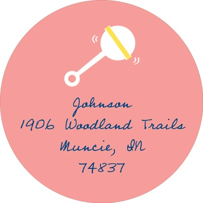 Retro Baby Rattle in Pink Baby Address Labels