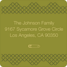 Cross Stitch Border in Green -- Baby Address Labels