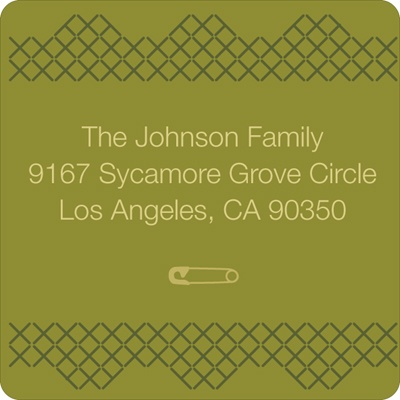 Cross Stitch Border in Green Baby Address Labels
