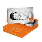 Cross Stitch Introduction in Orange -- Girl Birth Announcements