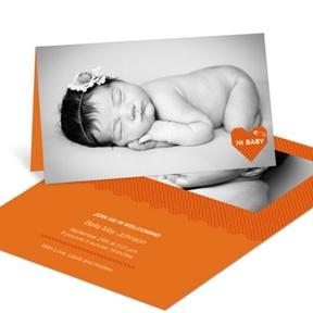 Cross Stitch Introduction in Orange -- Birth Announcements