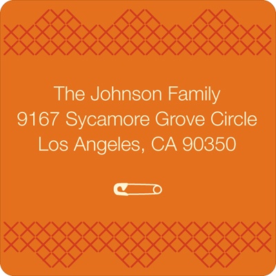 Cross Stitch Border in Orange -- Baby Address Labels