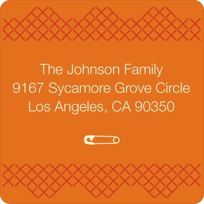 Cross Stitch Border in Orange Baby Address Labels