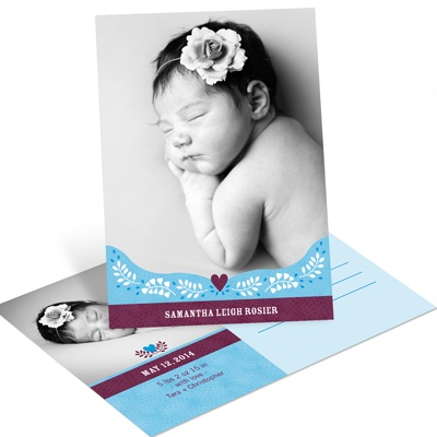 Subtle Sweetheart Design in Blue -- Girl Birth Announcements