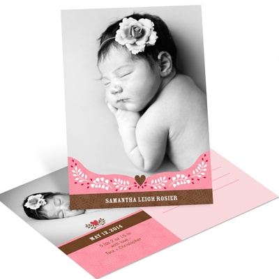 Subtle Sweetheart Pink Postcard Birth Announcements