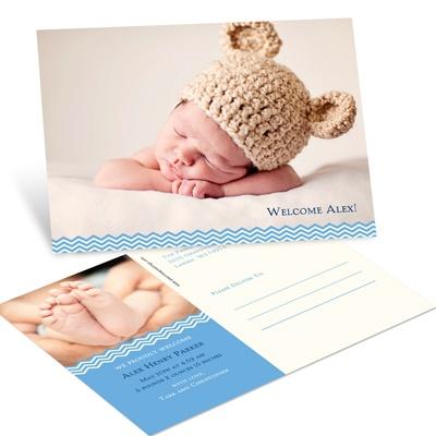 Charming Chevron Blue Postcard Birth Announcements