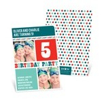 Stripes and Dots in Red -- Kids Birthday Invitations