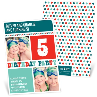 Stripes and Dots in Red Kids Birthday Invitations