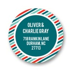 Stripes and Dots in Red -- Address Labels