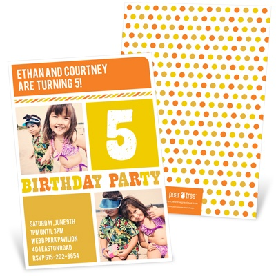 Stripes and Dots in Yellow Kids Birthday Invitations