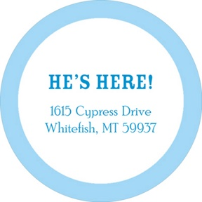 He's Here Bordered in Blue -- Baby Address Labels