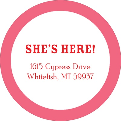 She's Here Bordered in Pink Baby Address Labels