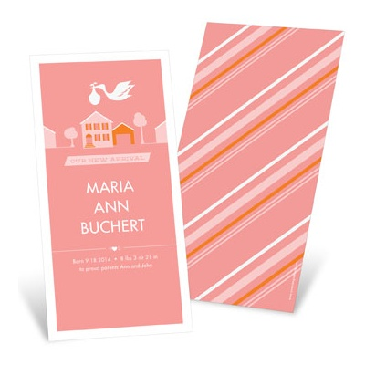 Special Delivery in the Town in Pink -- Girl Birth Announcements