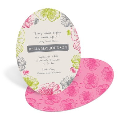 Poppy Flower Perfection in Pink -- Girl Birth Announcements