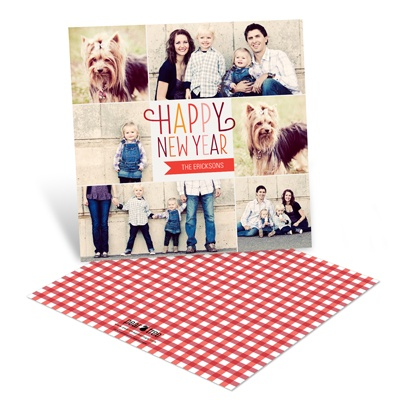 Checkered Cheer Photo New Years Cards