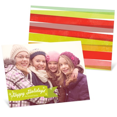 Flurries & Ribbons Photo Christmas Cards