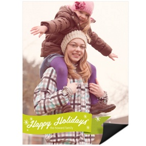 Flurries & Ribbon Vertical Magnet -- Christmas Cards