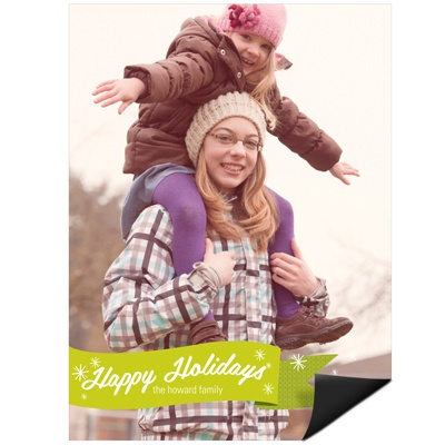Flurries & Ribbon Vertical Magnet Photo Christmas Cards