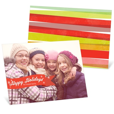 Red Ribbon -- Horizontal Holiday Photo Cards