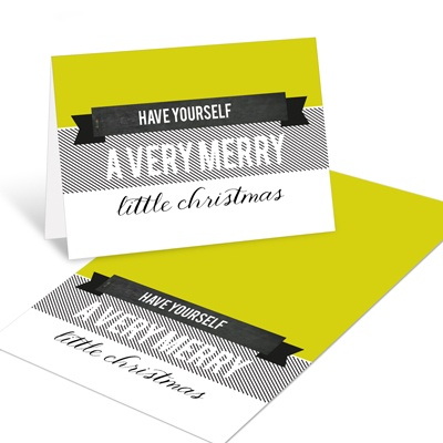 Retro and Merry Christmas Mini Note Cards