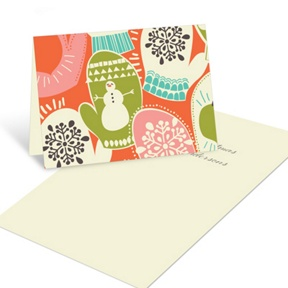 Retro Merry Mittens -- Christmas Mini Note Cards