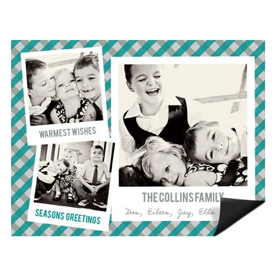 Gingham Photo Greeting Magnet Photo Christmas Cards