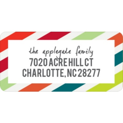 Striped Style Christmas Address Labels