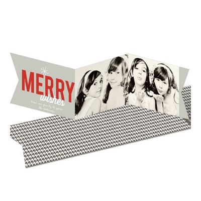 Festive Two Photo Banner -- Tri-fold Holiday Photo Cards