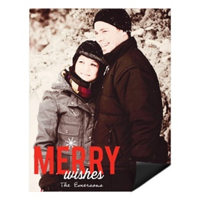 Single Snowflake Vertical Magnet -- Christmas Cards