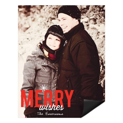 Single Snowflake Vertical Magnet Photo Christmas Cards