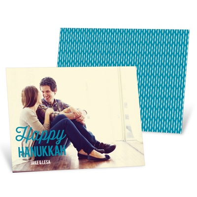 Linear Love Horizontal Photo Hanukkah Cards