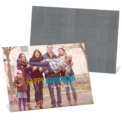 Contemporary Statement Horizontal Photo Hanukkah Cards