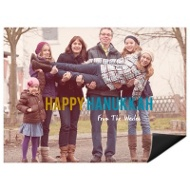 Contemporary Statement Horizontal Photo Magnet Hanukkah Cards