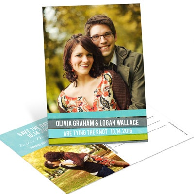 Engaging Stripes in Blue Save the Date Postcards