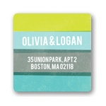 Engaging Stripes in Blue -- Save the Date Address Labels