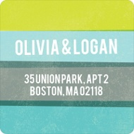Engaging Stripes in Blue Save the Date Address Labels
