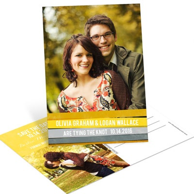 Engaging Stripes in Yellow Save the Date Postcards