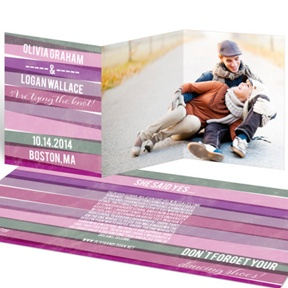 Engaging Stripes in Purple -- Save the Date Cards