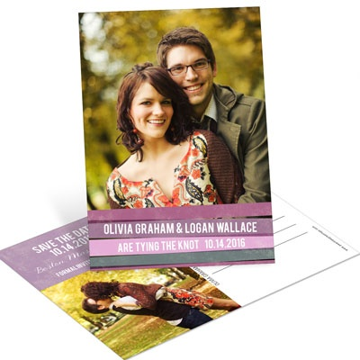 Engaging Stripes in Purple Save the Date Postcards