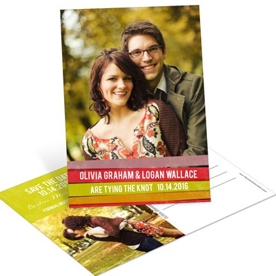 Engaging Stripes in Red Save the Date Postcards
