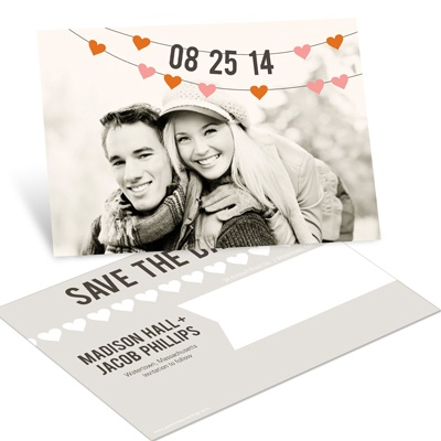 Charming Hearts Horizontal Photo Save the Date Postcards