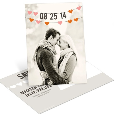 Charming Hearts Vertical Photo Save the Date Postcards