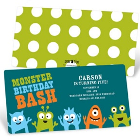 My Little Monsters in Blue -- Kids Birthday Invitations