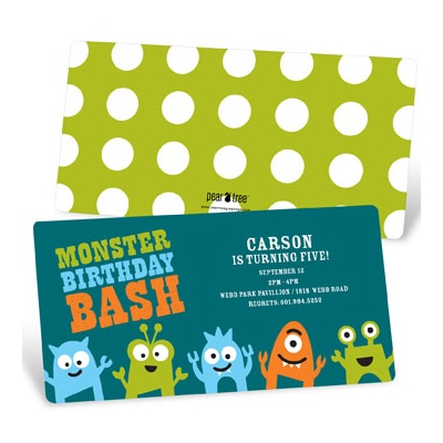 My Little Monsters in Blue Kids Birthday Invitations